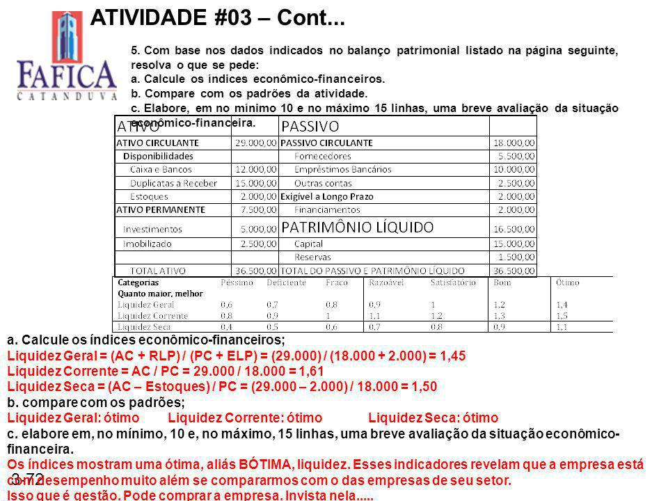 3-72 ATIVIDADE #03 – Cont... 5. Com base nos dados indicados no balanço patrimonial listado na página seguinte, resolva o que se pede: a. Calcule os í
