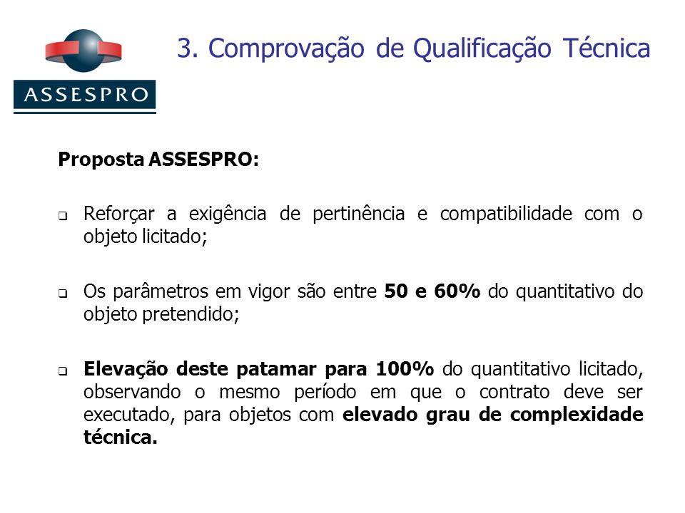 3. Comprovação de Qualificação Técnica Proposta ASSESPRO: Reforçar a exigência de pertinência e compatibilidade com o objeto licitado; Os parâmetros e