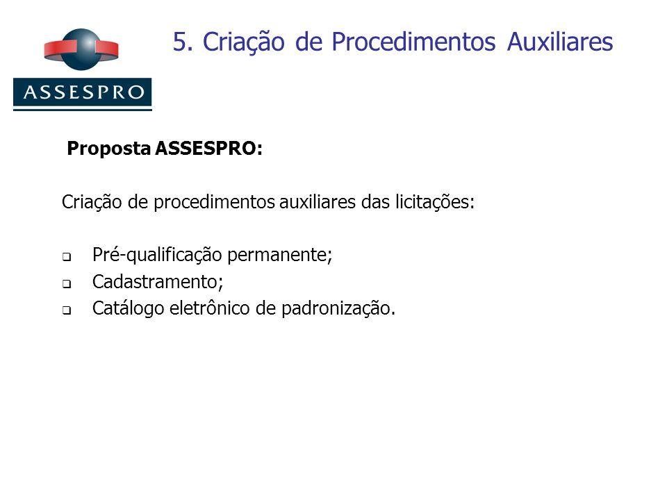5. Criação de Procedimentos Auxiliares Proposta ASSESPRO: Criação de procedimentos auxiliares das licitações: Pré-qualificação permanente; Cadastramen
