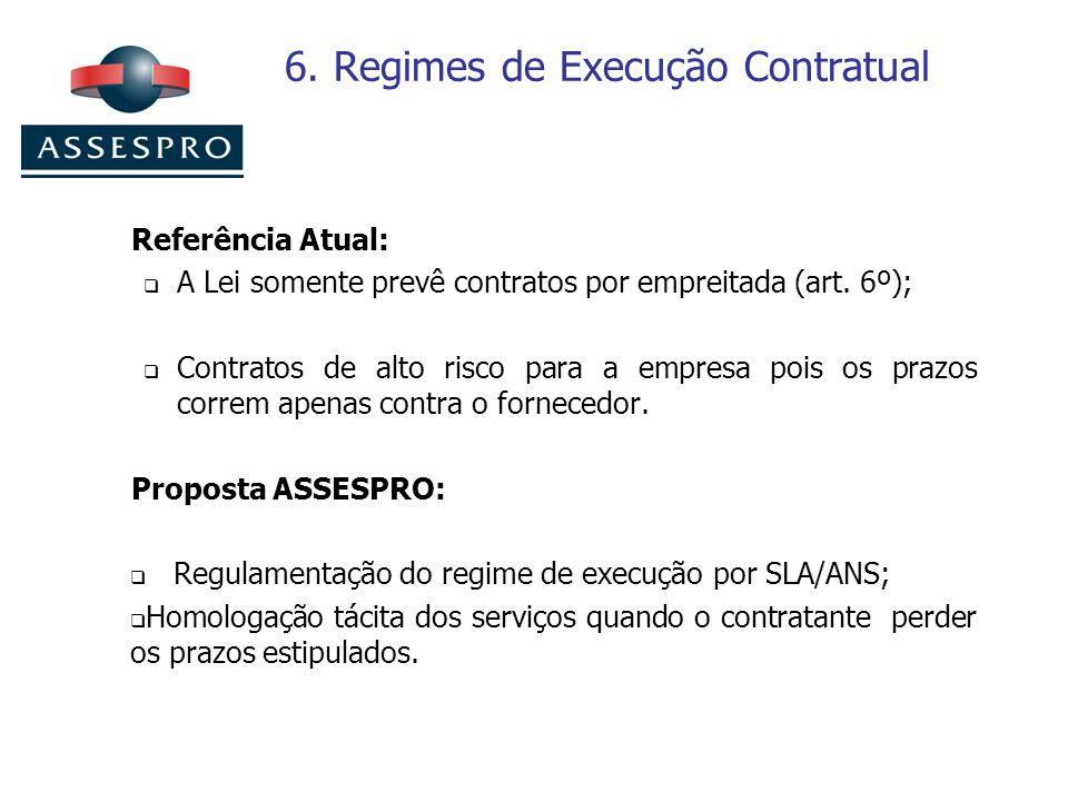 6. Regimes de Execução Contratual Referência Atual: A Lei somente prevê contratos por empreitada (art. 6º); Contratos de alto risco para a empresa poi