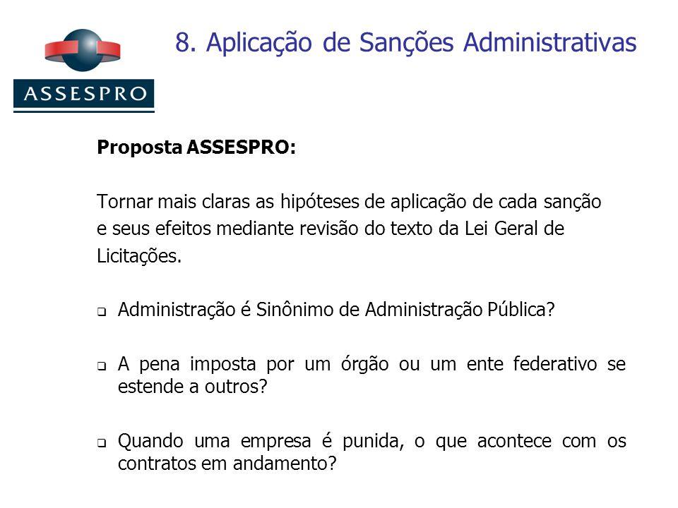 8. Aplicação de Sanções Administrativas Proposta ASSESPRO: Tornar mais claras as hipóteses de aplicação de cada sanção e seus efeitos mediante revisão