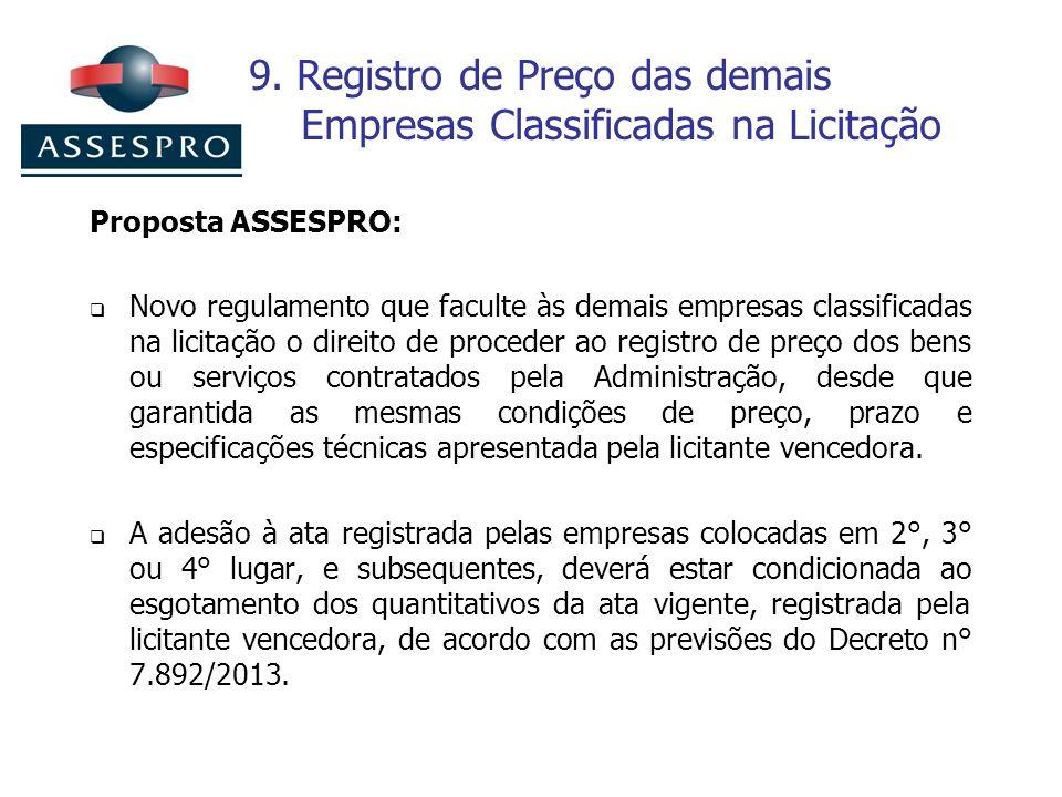 9. Registro de Preço das demais Empresas Classificadas na Licitação Proposta ASSESPRO: Novo regulamento que faculte às demais empresas classificadas n