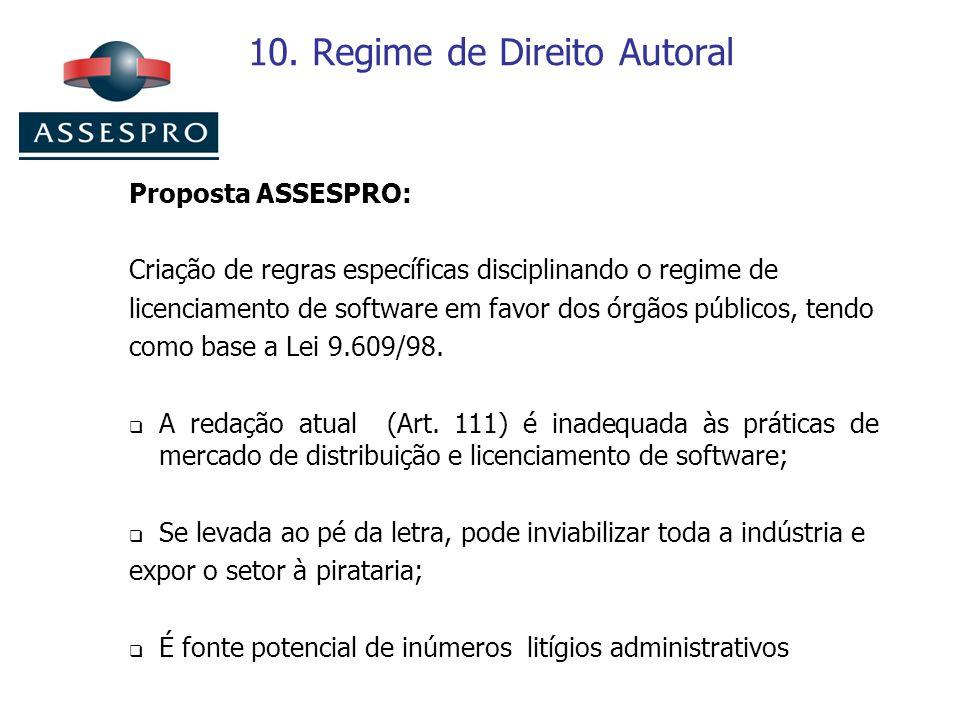 10. Regime de Direito Autoral Proposta ASSESPRO: Criação de regras específicas disciplinando o regime de licenciamento de software em favor dos órgãos