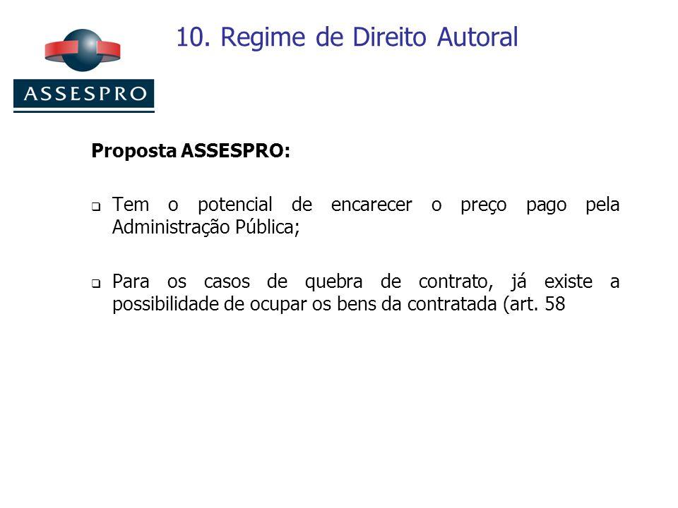 10. Regime de Direito Autoral Proposta ASSESPRO: Tem o potencial de encarecer o preço pago pela Administração Pública; Para os casos de quebra de cont