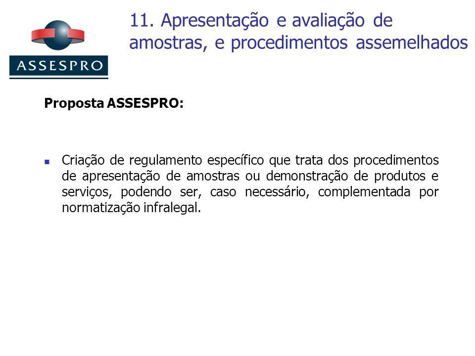 11. Apresentação e avaliação de amostras, e procedimentos assemelhados Proposta ASSESPRO: Criação de regulamento específico que trata dos procedimento