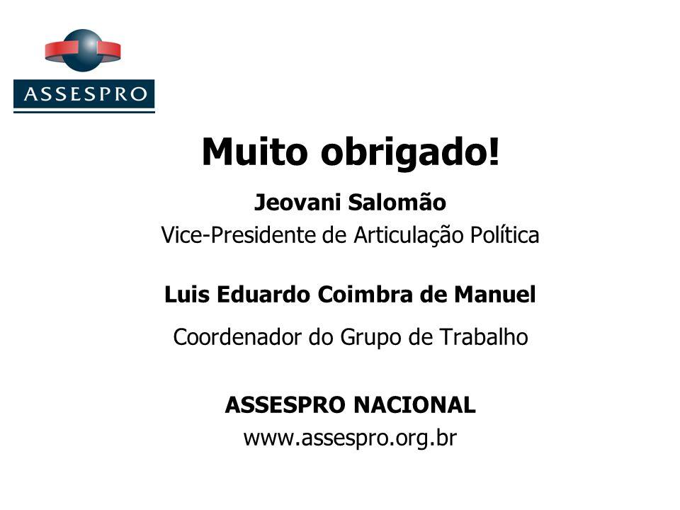 Muito obrigado! Jeovani Salomão Vice-Presidente de Articulação Política Luis Eduardo Coimbra de Manuel Coordenador do Grupo de Trabalho ASSESPRO NACIO
