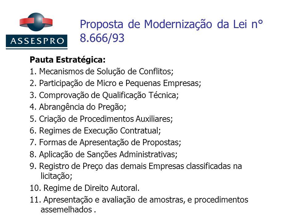 Proposta de Modernização da Lei n° 8.666/93 Pauta Estratégica: 1. Mecanismos de Solução de Conflitos; 2. Participação de Micro e Pequenas Empresas; 3.
