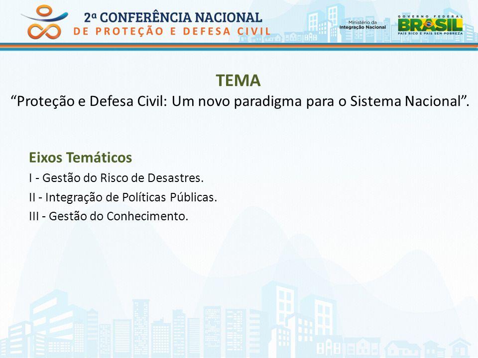 TEMA Proteção e Defesa Civil: Um novo paradigma para o Sistema Nacional. Eixos Temáticos I - Gestão do Risco de Desastres. II - Integração de Política