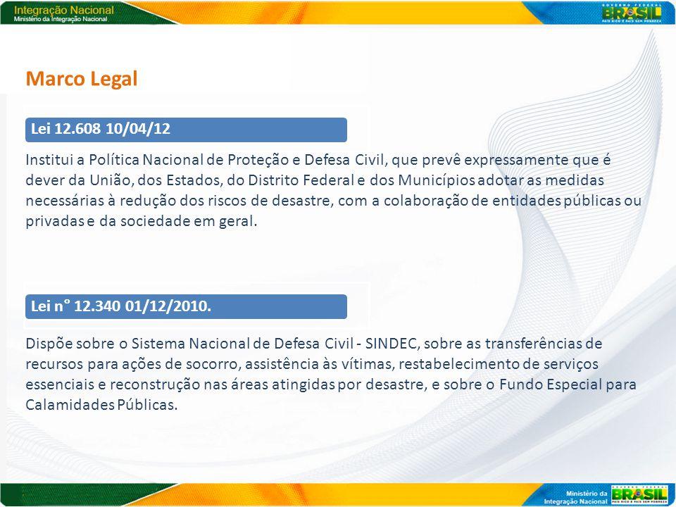 Marco Legal Institui a Política Nacional de Proteção e Defesa Civil, que prevê expressamente que é dever da União, dos Estados, do Distrito Federal e