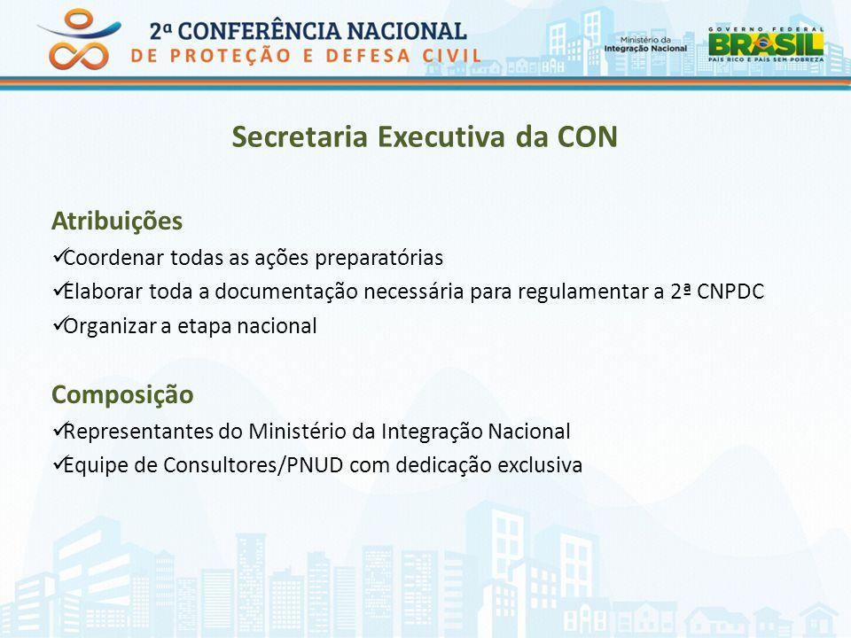 Secretaria Executiva da CON Atribuições Coordenar todas as ações preparatórias Elaborar toda a documentação necessária para regulamentar a 2ª CNPDC Or