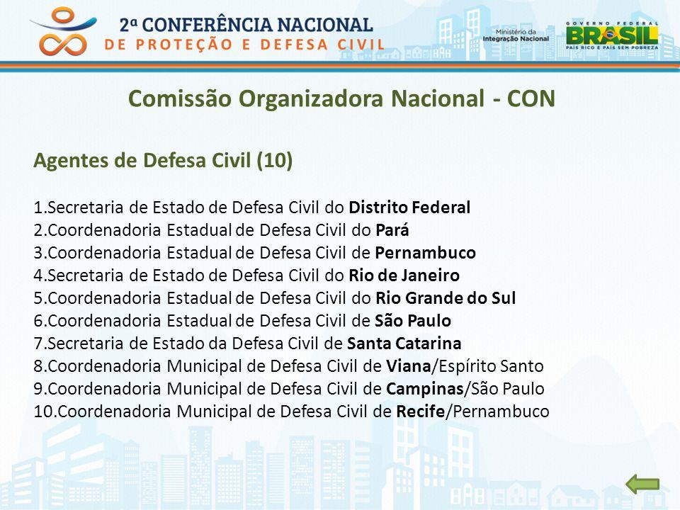 Comissão Organizadora Nacional - CON Agentes de Defesa Civil (10) 1.Secretaria de Estado de Defesa Civil do Distrito Federal 2.Coordenadoria Estadual