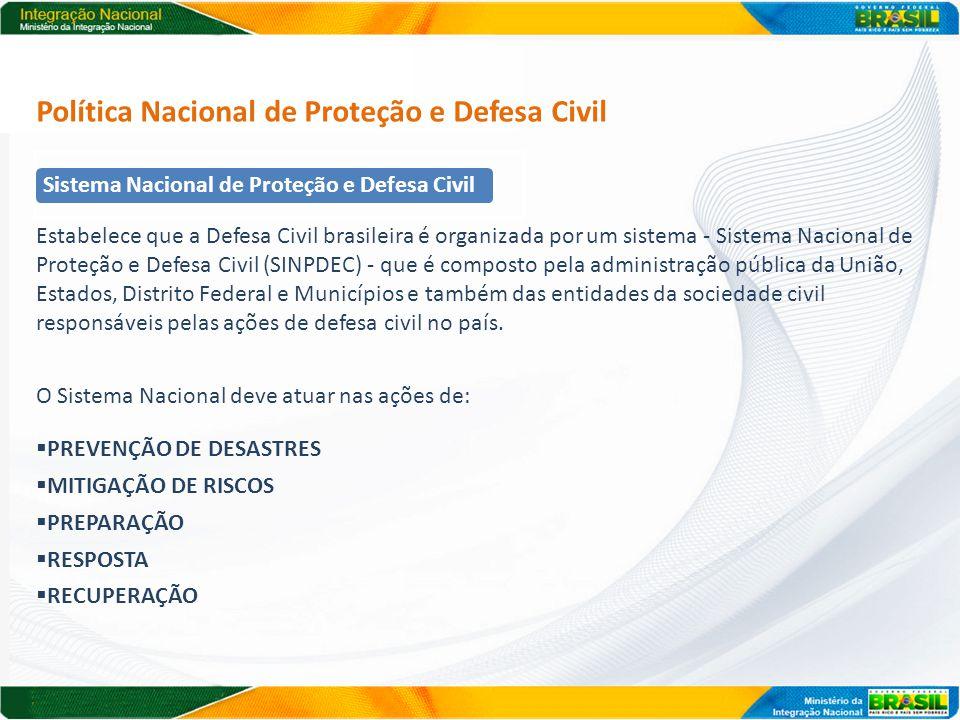 Política Nacional de Proteção e Defesa Civil Estabelece que a Defesa Civil brasileira é organizada por um sistema - Sistema Nacional de Proteção e Def