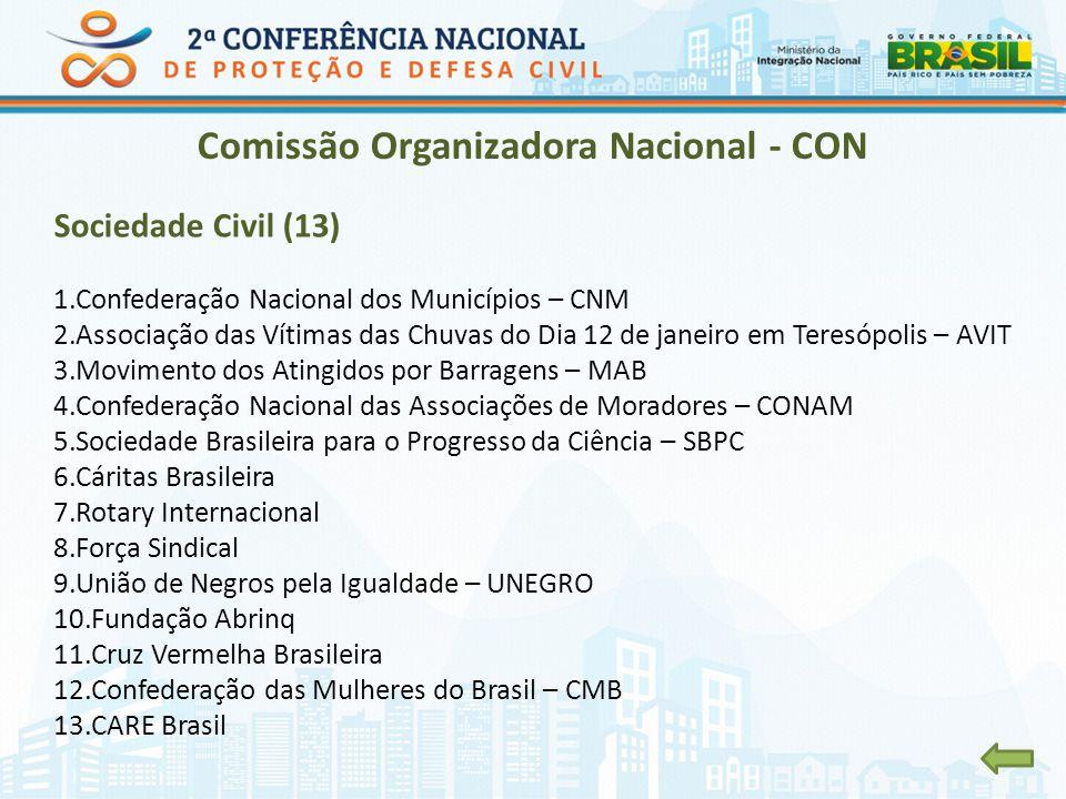 Comissão Organizadora Nacional - CON Sociedade Civil (13) 1.Confederação Nacional dos Municípios – CNM 2.Associação das Vítimas das Chuvas do Dia 12 d