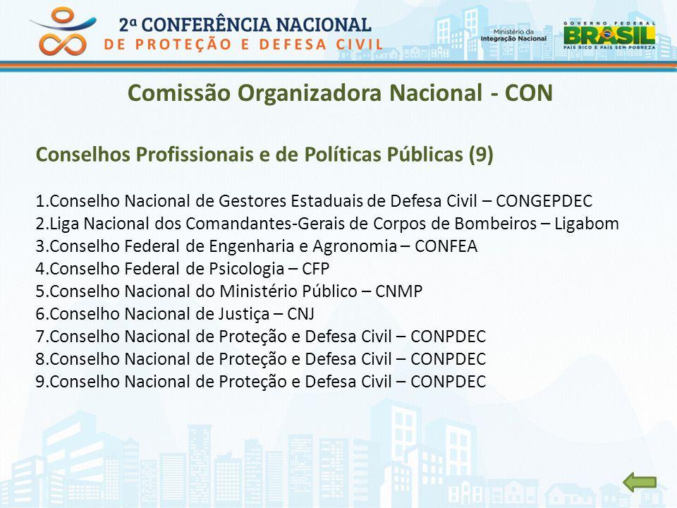 Comissão Organizadora Nacional - CON Conselhos Profissionais e de Políticas Públicas (9) 1.Conselho Nacional de Gestores Estaduais de Defesa Civil – C