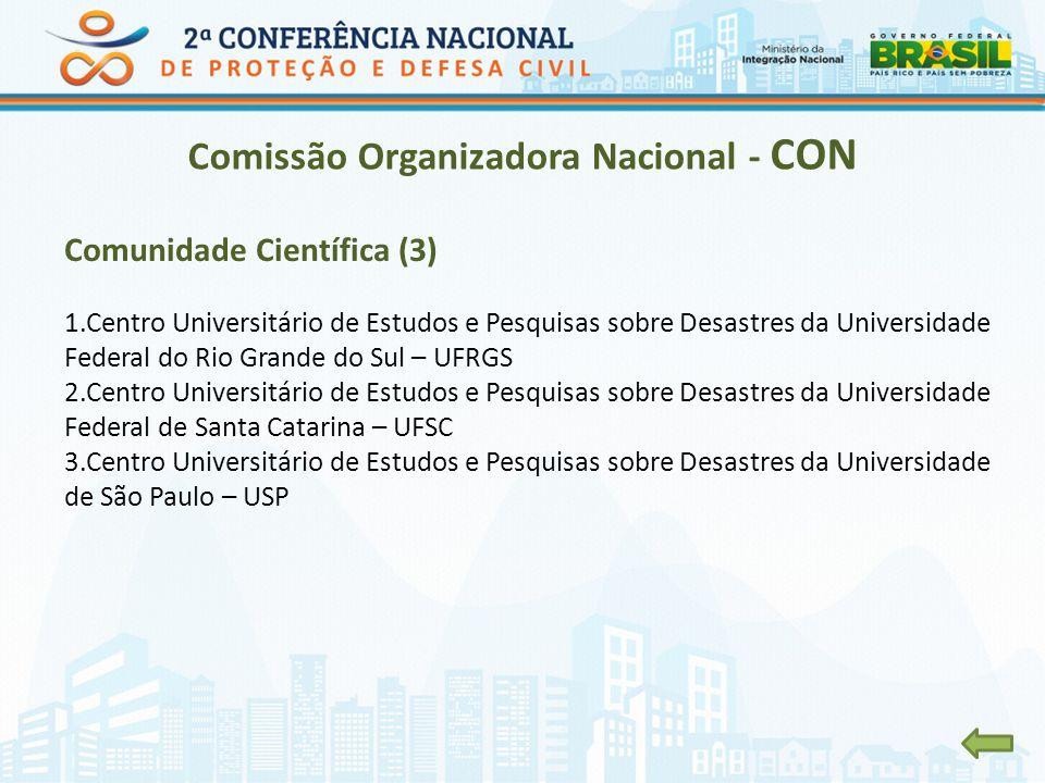 Comissão Organizadora Nacional - CON Comunidade Científica (3) 1.Centro Universitário de Estudos e Pesquisas sobre Desastres da Universidade Federal d
