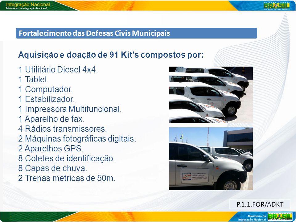 Fortalecimento das Defesas Civis Municipais Aquisição e doação de 91 Kits compostos por: 1 Utilitário Diesel 4x4. 1 Tablet. 1 Computador. 1 Estabiliza