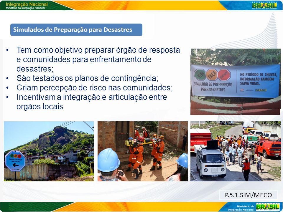 P.5.1.SIM/MECO Simulados de Preparação para Desastres Tem como objetivo preparar órgão de resposta e comunidades para enfrentamento de desastres; São