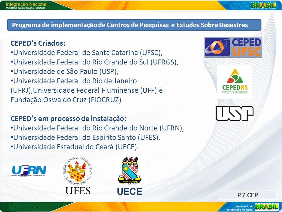 Programa de implementação de Centros de Pesquisas e Estudos Sobre Desastres UECE P.7.CEP CEPEDs Criados: Universidade Federal de Santa Catarina (UFSC)