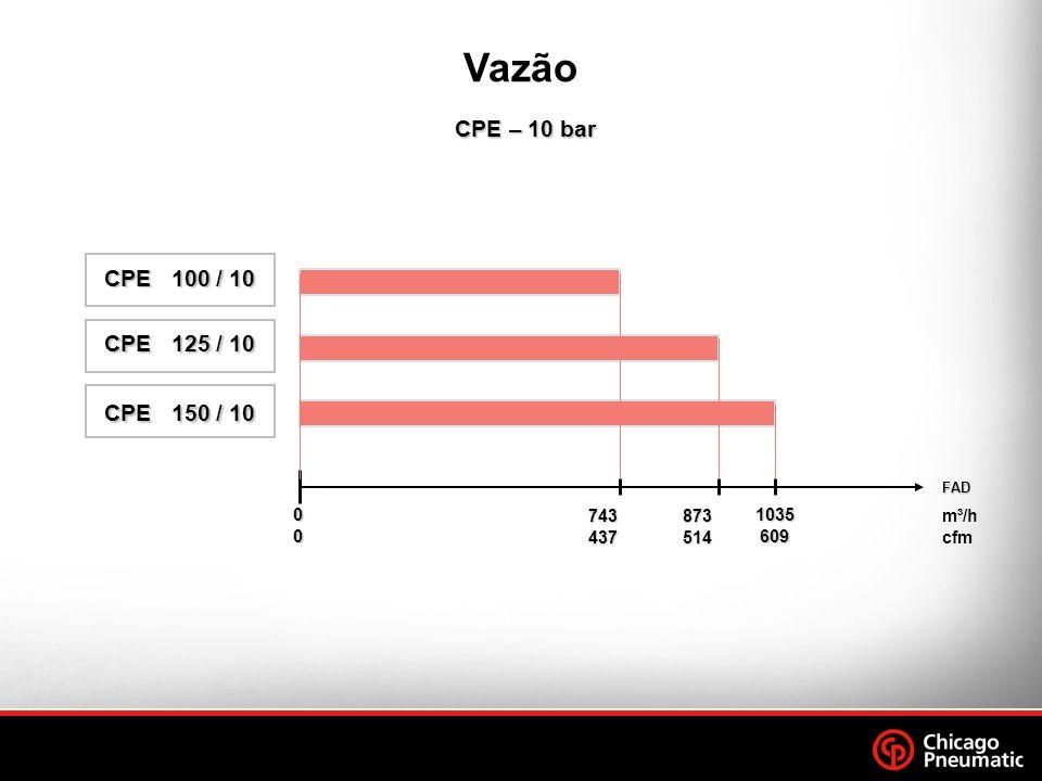 CPE – 10 bar CPE – 10 bar FAD m³/h cfm 00000000 743 437 873 514 1035 609 Vazão CPE 100 / 10 CPE 100 / 10 CPE 125 / 10 CPE 125 / 10 CPE 150 / 10 CPE 150 / 10