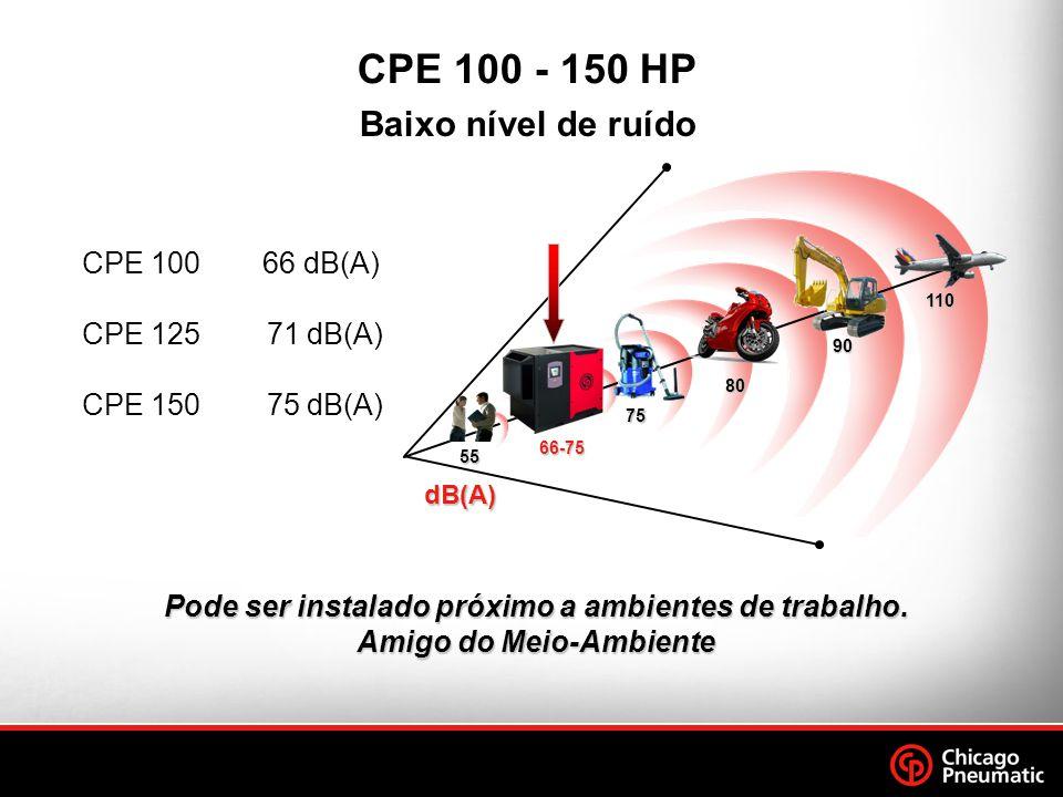 CPE 100 66 dB(A) CPE 125 71 dB(A) CPE 150 75 dB(A) Baixo nível de ruído CPE 100 - 150 HP Pode ser instalado próximo a ambientes de trabalho.
