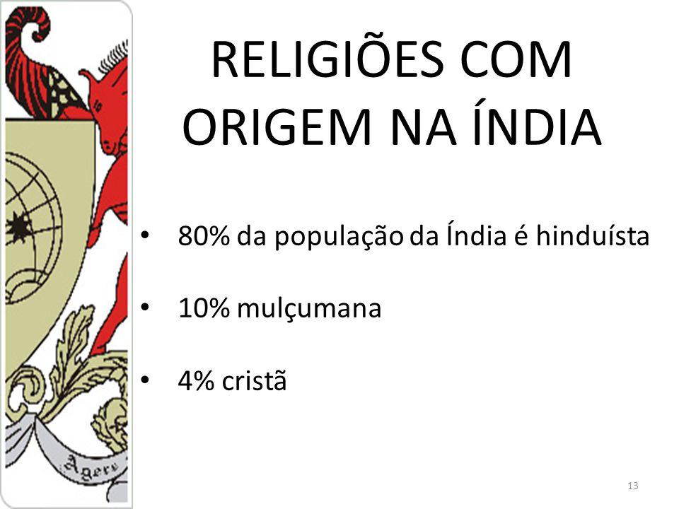 13 80% da população da Índia é hinduísta 10% mulçumana 4% cristã RELIGIÕES COM ORIGEM NA ÍNDIA