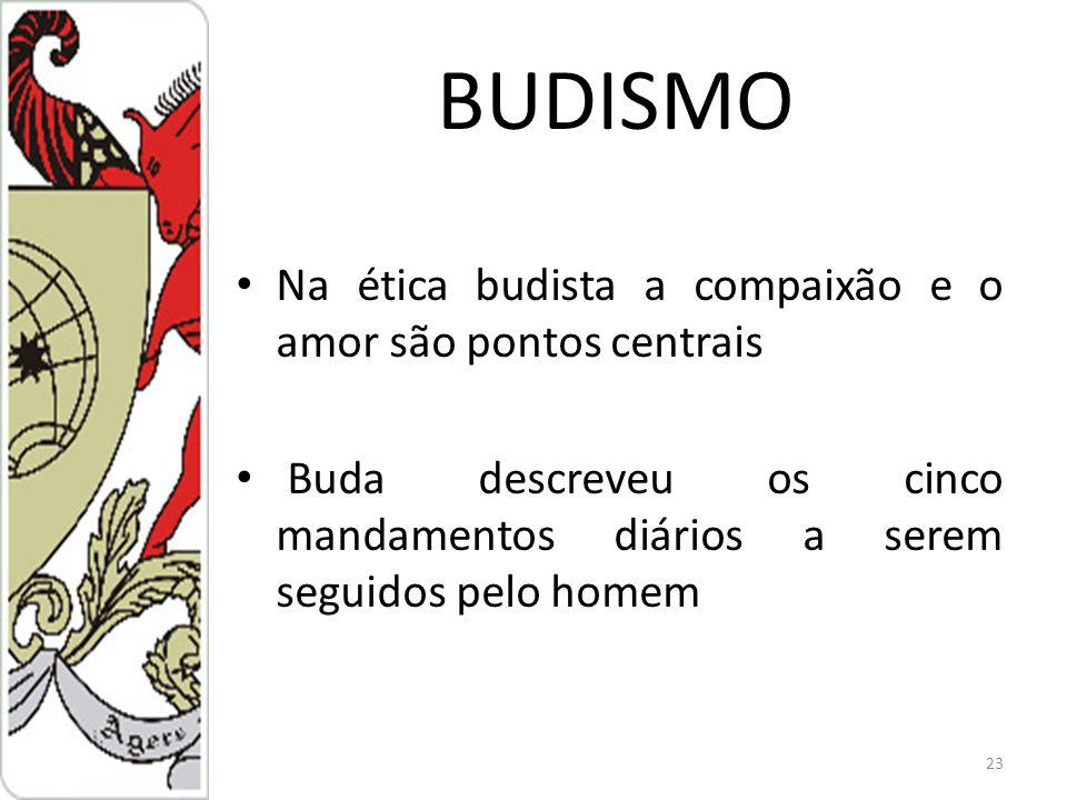 BUDISMO Na ética budista a compaixão e o amor são pontos centrais Buda descreveu os cinco mandamentos diários a serem seguidos pelo homem 23