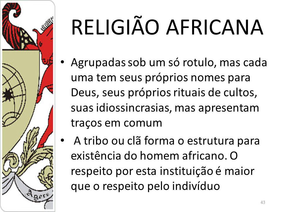 RELIGIÃO AFRICANA Agrupadas sob um só rotulo, mas cada uma tem seus próprios nomes para Deus, seus próprios rituais de cultos, suas idiossincrasias, mas apresentam traços em comum A tribo ou clã forma o estrutura para existência do homem africano.