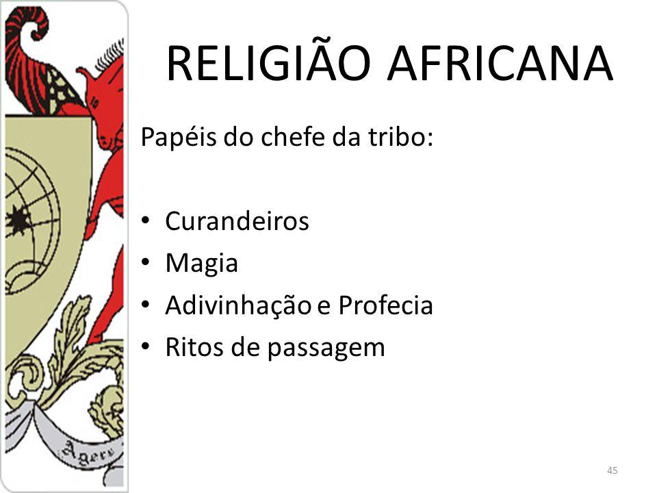RELIGIÃO AFRICANA Papéis do chefe da tribo: Curandeiros Magia Adivinhação e Profecia Ritos de passagem 45