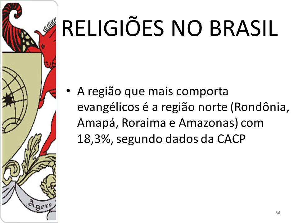 RELIGIÕES NO BRASIL A região que mais comporta evangélicos é a região norte (Rondônia, Amapá, Roraima e Amazonas) com 18,3%, segundo dados da CACP 84