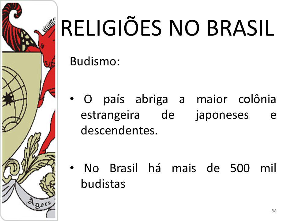 RELIGIÕES NO BRASIL Budismo: O país abriga a maior colônia estrangeira de japoneses e descendentes.
