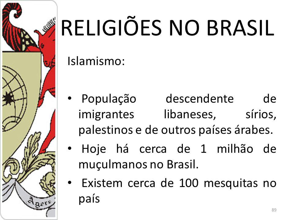 RELIGIÕES NO BRASIL Islamismo: População descendente de imigrantes libaneses, sírios, palestinos e de outros países árabes.