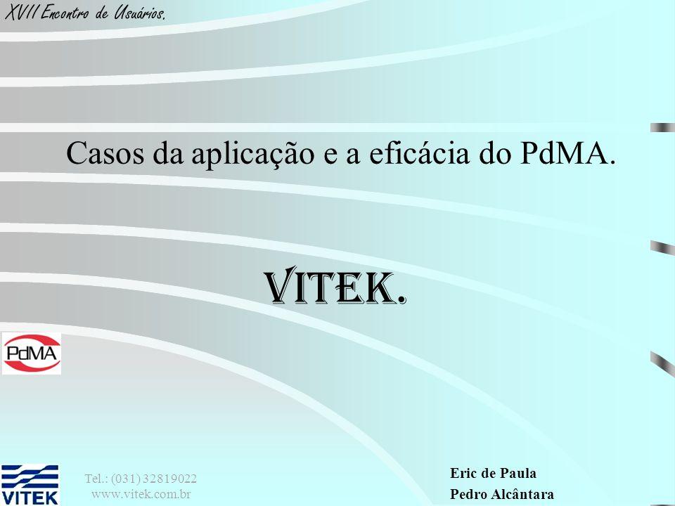 Eric de Paula Pedro Alcântara XVII Encontro de Usuários. VITEK. Casos da aplicação e a eficácia do PdMA. Tel.: (031) 32819022 www.vitek.com.br