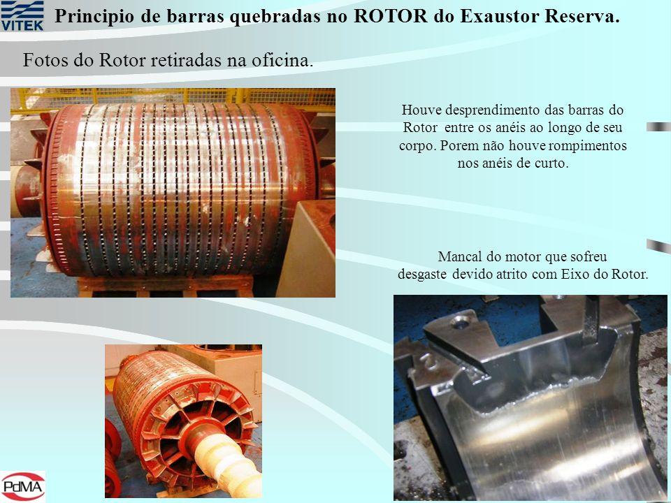 Principio de barras quebradas no ROTOR do Exaustor Reserva. Fotos do Rotor retiradas na oficina. Mancal do motor que sofreu desgaste devido atrito com