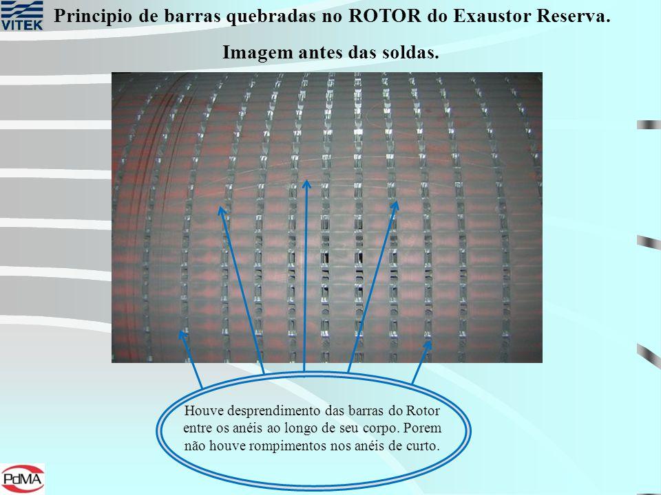 Principio de barras quebradas no ROTOR do Exaustor Reserva. Houve desprendimento das barras do Rotor entre os anéis ao longo de seu corpo. Porem não h