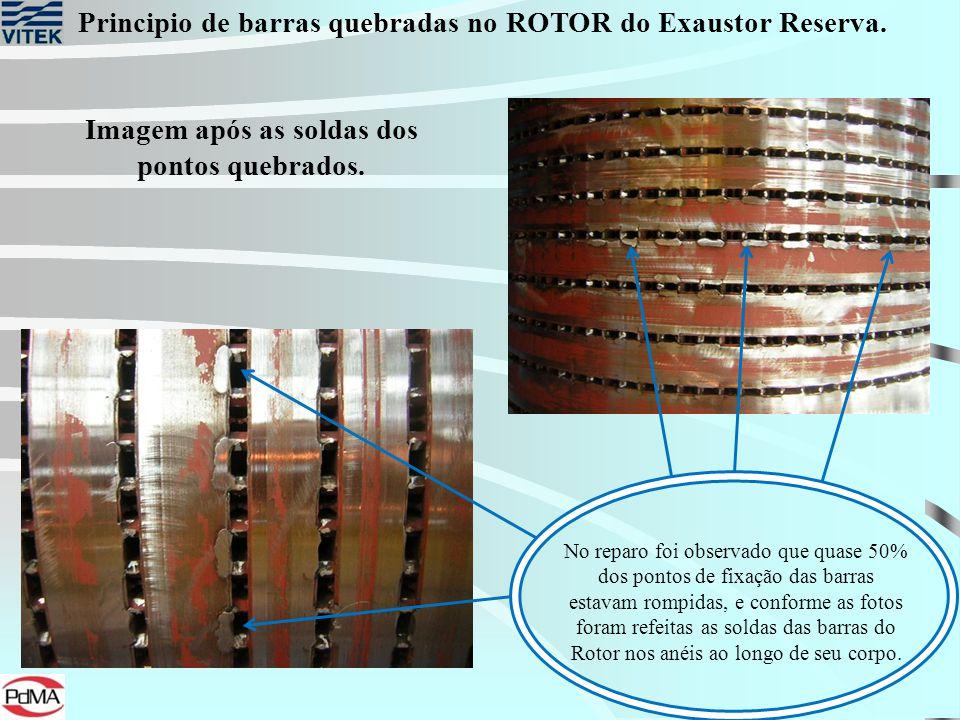 Principio de barras quebradas no ROTOR do Exaustor Reserva. Imagem após as soldas dos pontos quebrados. No reparo foi observado que quase 50% dos pont