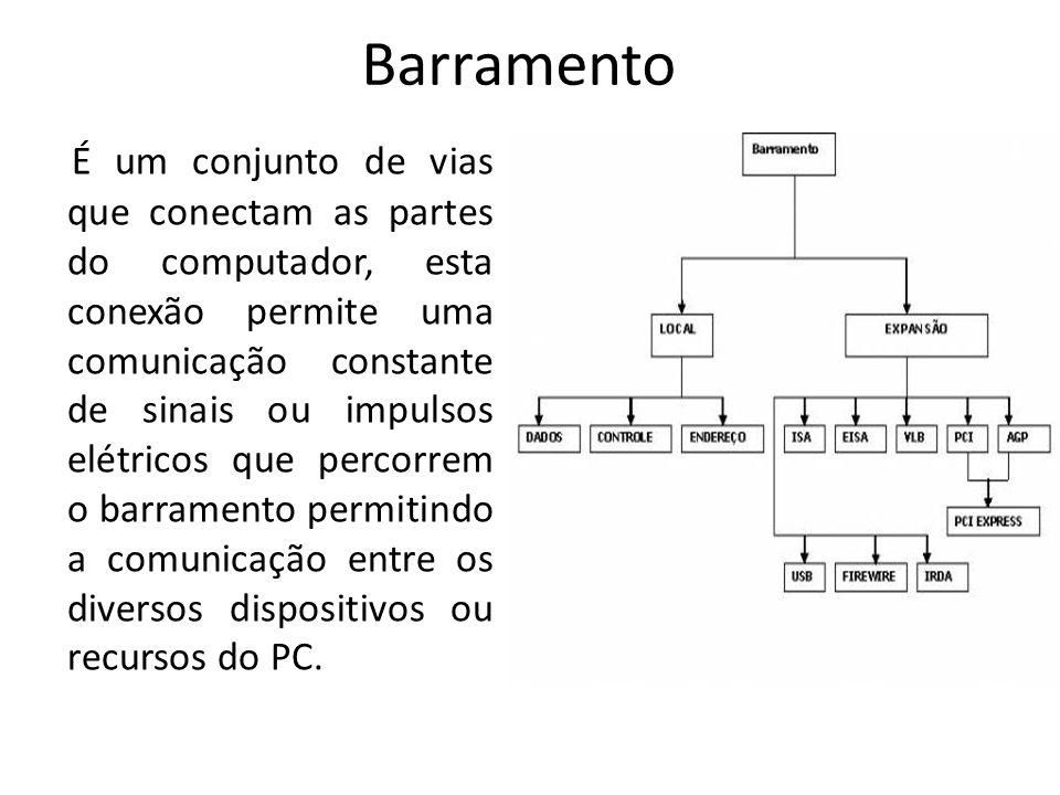 Barramento É um conjunto de vias que conectam as partes do computador, esta conexão permite uma comunicação constante de sinais ou impulsos elétricos