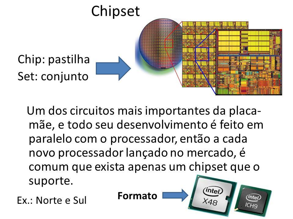 Chipset Chip: pastilha Set: conjunto Um dos circuitos mais importantes da placa- mãe, e todo seu desenvolvimento é feito em paralelo com o processador