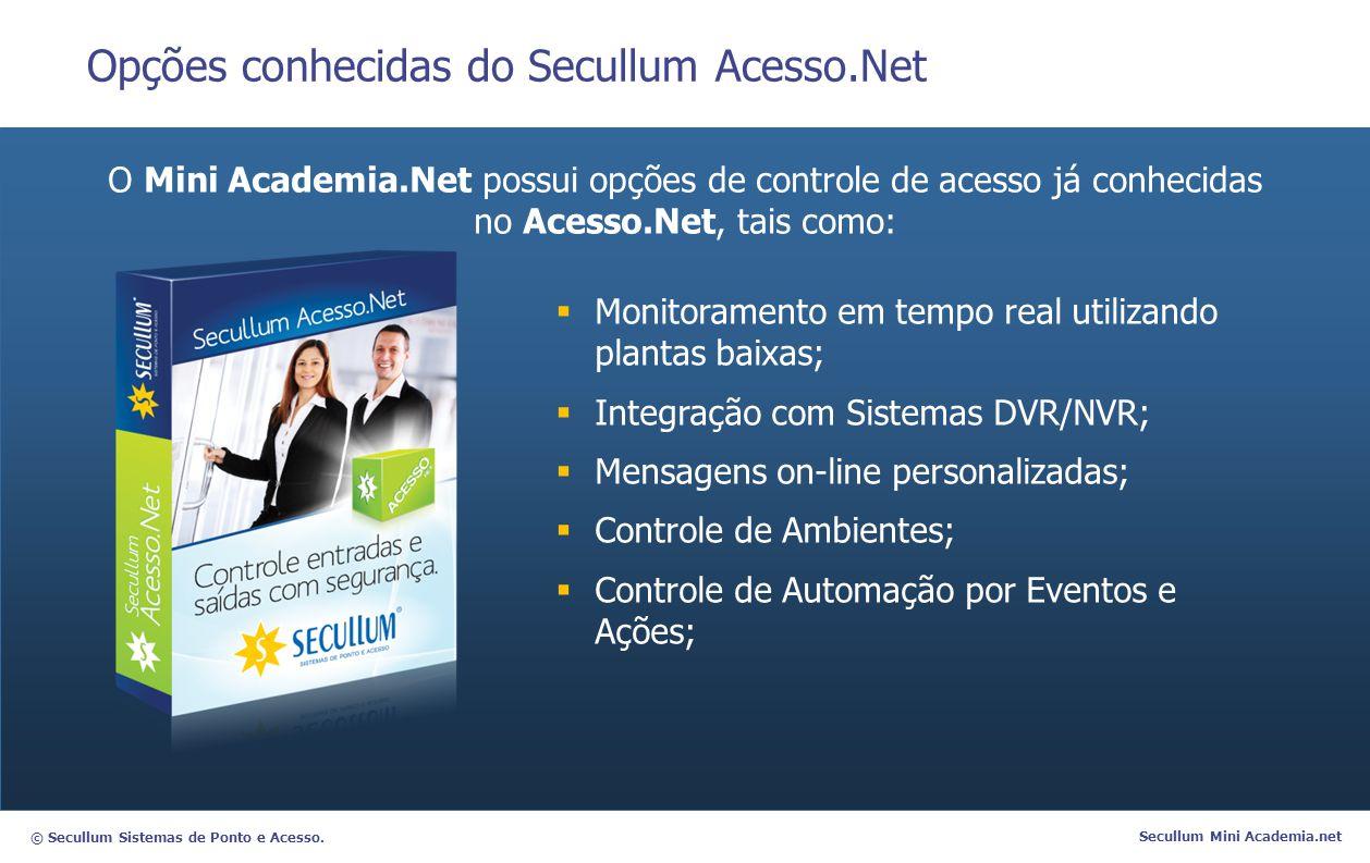 © Secullum Sistemas de Ponto e Acesso. Secullum Mini Academia.net Opções conhecidas do Secullum Acesso.Net O Mini Academia.Net possui opções de contro