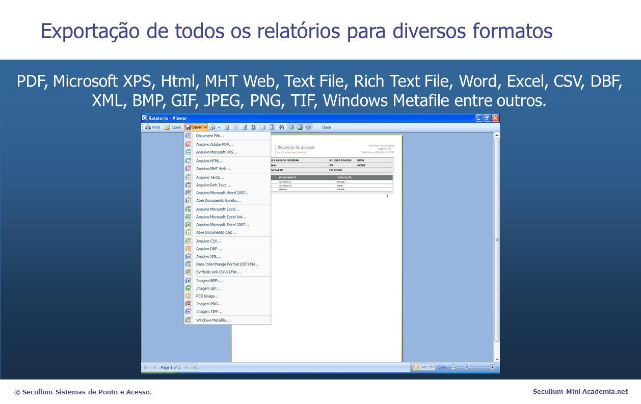 © Secullum Sistemas de Ponto e Acesso. Secullum Mini Academia.net Exportação de todos os relatórios para diversos formatos PDF, Microsoft XPS, Html, M
