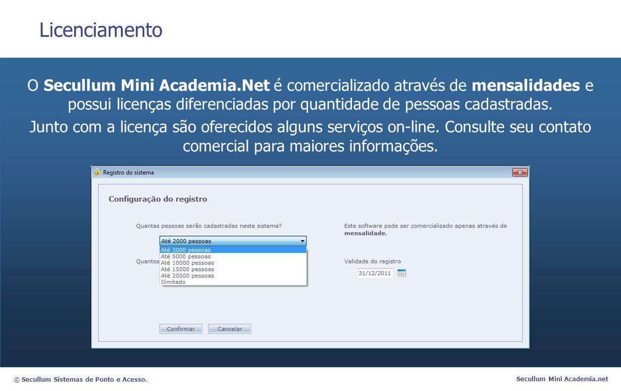 © Secullum Sistemas de Ponto e Acesso. Secullum Mini Academia.net Licenciamento O Secullum Mini Academia.Net é comercializado através de mensalidades