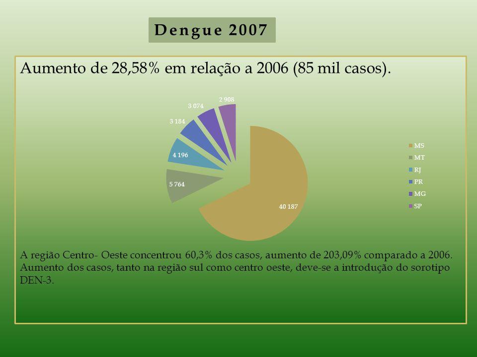 Aumento de 28,58% em relação a 2006 (85 mil casos). A região Centro- Oeste concentrou 60,3% dos casos, aumento de 203,09% comparado a 2006. Aumento do