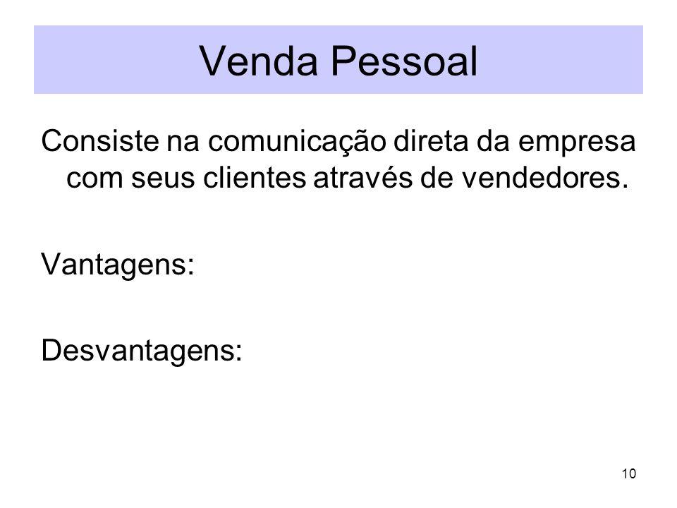 10 Venda Pessoal Consiste na comunicação direta da empresa com seus clientes através de vendedores. Vantagens: Desvantagens: