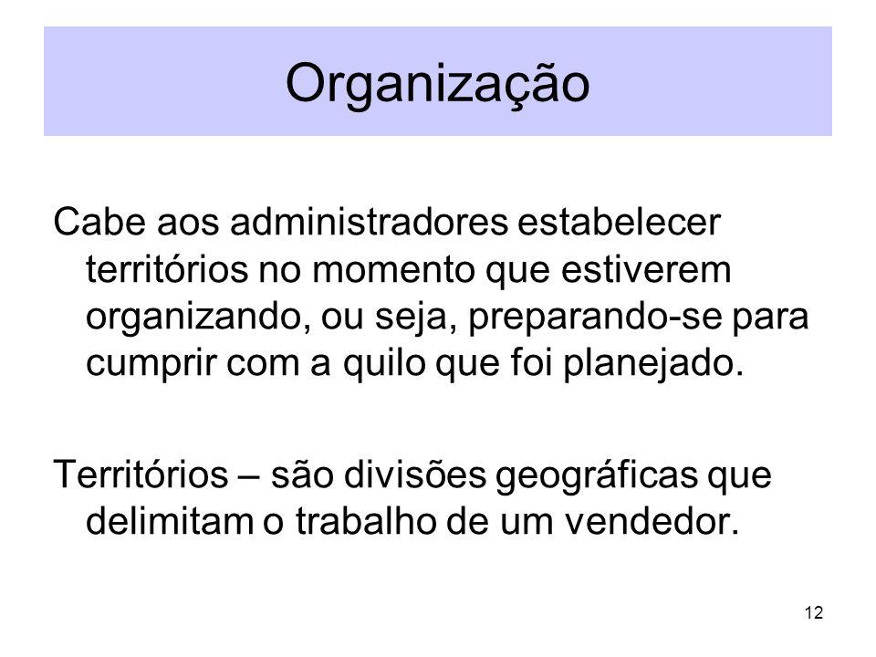 12 Organização Cabe aos administradores estabelecer territórios no momento que estiverem organizando, ou seja, preparando-se para cumprir com a quilo