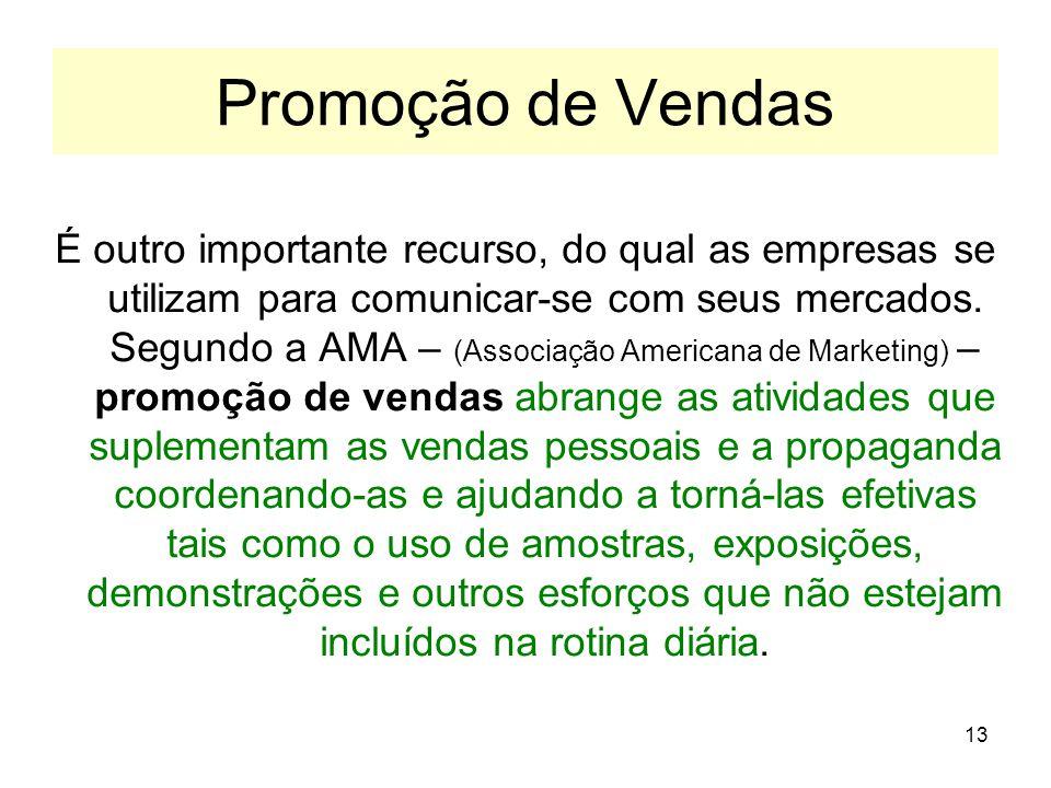 13 Promoção de Vendas É outro importante recurso, do qual as empresas se utilizam para comunicar-se com seus mercados. Segundo a AMA – (Associação Ame