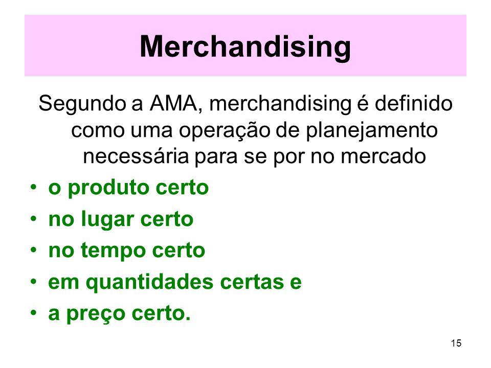 15 Merchandising Segundo a AMA, merchandising é definido como uma operação de planejamento necessária para se por no mercado o produto certo no lugar