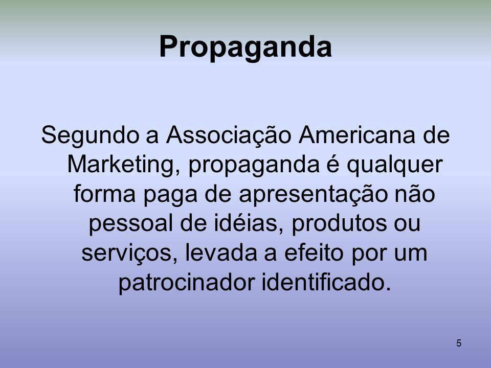 5 Propaganda Segundo a Associação Americana de Marketing, propaganda é qualquer forma paga de apresentação não pessoal de idéias, produtos ou serviços