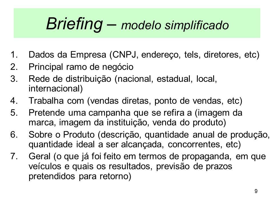 9 Briefing – modelo simplificado 1.Dados da Empresa (CNPJ, endereço, tels, diretores, etc) 2.Principal ramo de negócio 3.Rede de distribuição (naciona