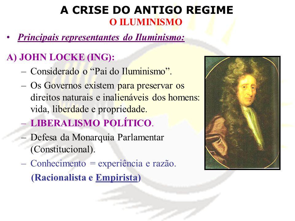 A CRISE DO ANTIGO REGIME O ILUMINISMO Principais representantes do Iluminismo: A) JOHN LOCKE (ING): –Considerado o Pai do Iluminismo. –Os Governos exi