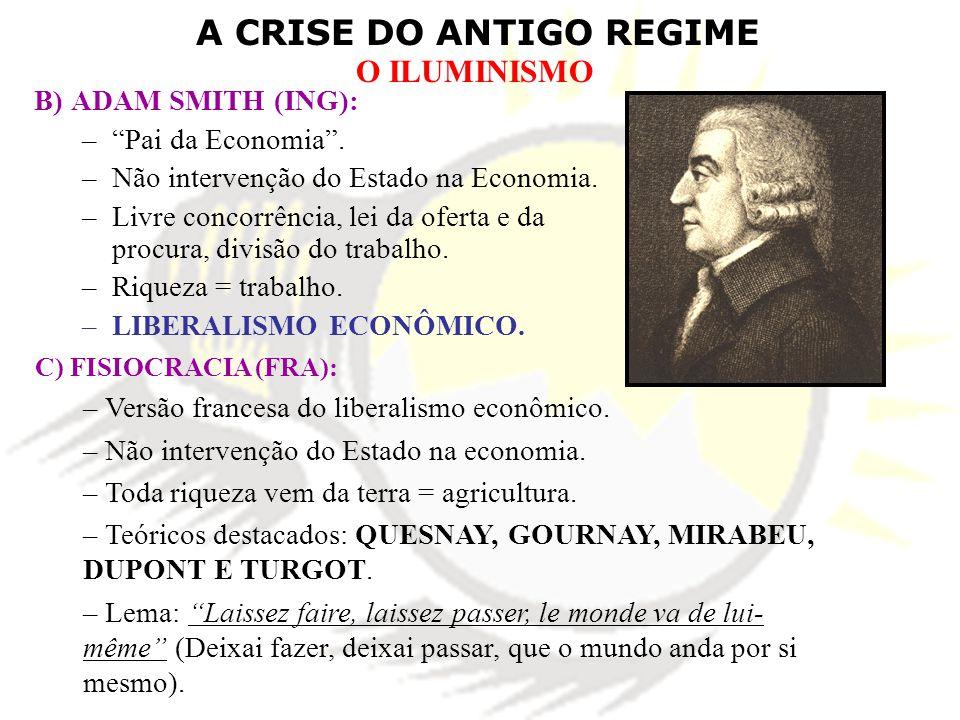 A CRISE DO ANTIGO REGIME O ILUMINISMO B) ADAM SMITH (ING): –Pai da Economia. –Não intervenção do Estado na Economia. –Livre concorrência, lei da ofert