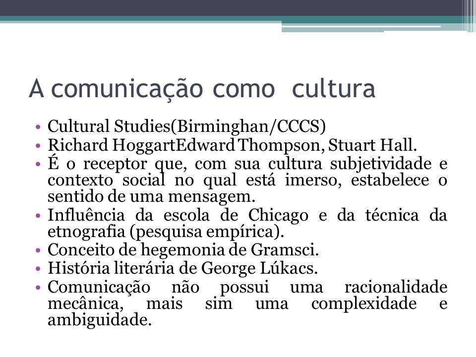 A comunicação como cultura Cultural Studies(Birminghan/CCCS) Richard HoggartEdward Thompson, Stuart Hall. É o receptor que, com sua cultura subjetivid